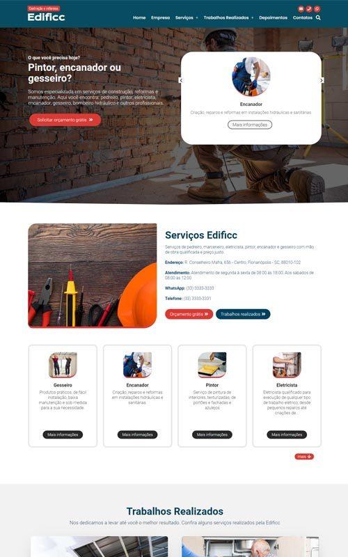 Edificc - Site para empresa de reforma e manutenção ou profissional pintor, encanador e marceneiro
