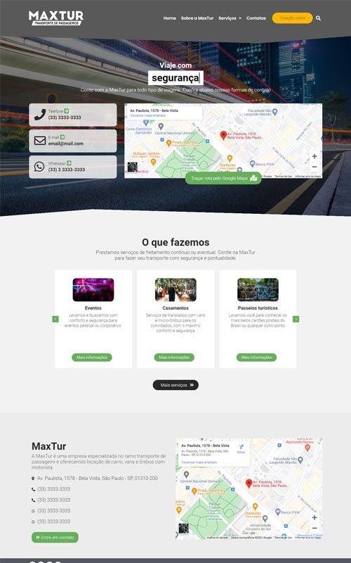 MaxTur - Site para empresas de viagens, transporte de pessoas, vans, escolares.