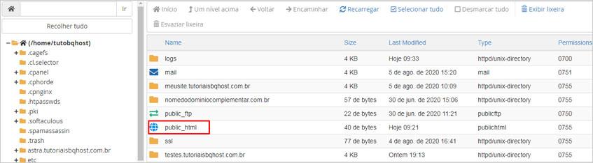 pasta public html no cPanel